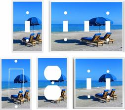 BEACH CHAIRS  BLUE UMBRELLA  WHITE SAND LIGHT SWITCH COVER