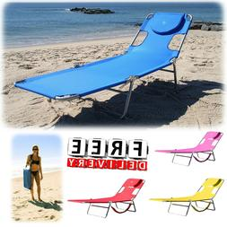 Beach Chaise Lounge Folding Portable Lightweight Outdoor Poo