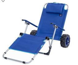 Mac Sports Beach Day Adjustable Lounger and Pull Cart All Te