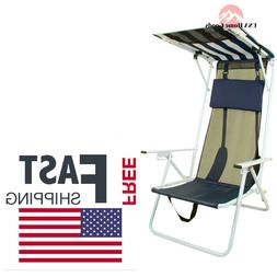 Beach Folding Chair With Navy Blue Stripe Shade Canopy Patio