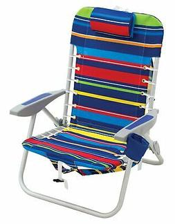 Rio Beach Lace-up Aluminum Backpack Chair, Red/Blue/Green/Ye