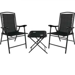 Black Sling Folding Beach Chair Set With Matching Side Table