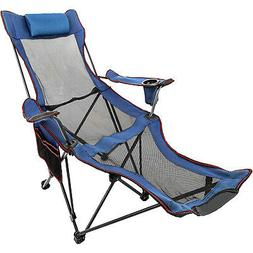 Blue Reclining Folding Camp Chair With Footrest Barcelona Sl