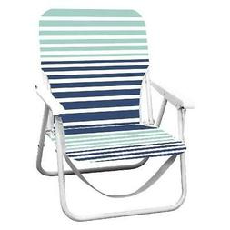 Blue Stripes Folding Beach Chair W/ Strap Attached Outdoor G