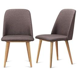 FDInspiration 2Pcs Brown Leisure Furniture Accent Dining Cha
