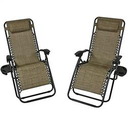 Sunnydaze Outdoor Zero Gravity Lounge Chair with Pillow and