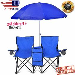 Double Folding Chair with Umbrella  Picnic Cooler Camping Be