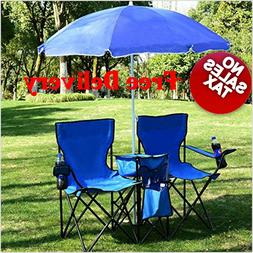 camping double 2 Chair Table with Cooler Umbrella Sun Shade