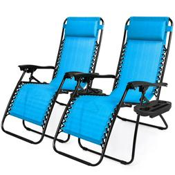 Case Of 2 Blue Zero Gravity Chairs Patio Yard Lounge Beach O