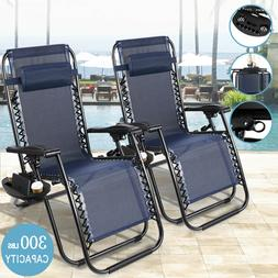 Case Of 2 Navy Zero Gravity Chairs Patio Yard Lounge Beach O