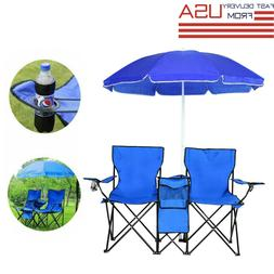 Outdoor Double Chair Picnic Folding Table W/ Umbrella Foldab