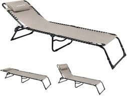 Kingcamp Chaise Lounge Camping Folding Cot Adjustable Reclin