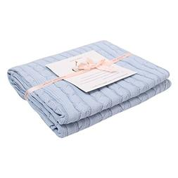 Adory Sweety 100% Cotton Decorative Knit Cable Throw Blanket