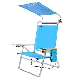 Deluxe 4 Position Aluminum Beach Chair with Canopy, Drink Ho