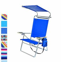 Deluxe 4 position Aluminum Beach Chair with Canopy Shade & S