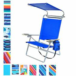 Deluxe 4 position Aluminum Beach Chair with Canopy , Drink H