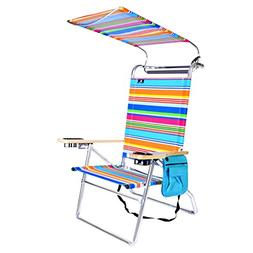 Deluxe 4 Position High Aluminum Beach Chair with Canopy Shad
