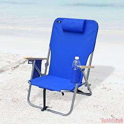 BeachMall Deluxe 4 position Steel Backpack Chair with Drink