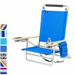 Deluxe 5 Position Lay Flat Aluminum Beach Chair, Cup Holder