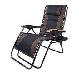 Luckyberry Deluxe Oversized Padded Zero Gravity Chair XL Bla