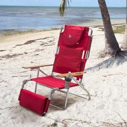 Deluxe Padded Ostrich 3-N-1 Beach Chair with FREE Towel, Red