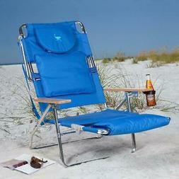 Deluxe Padded Ostrich Sport 3-N-1 Beach Chair In Blue / Pink