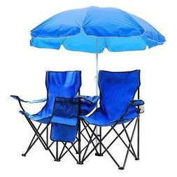 Double Folding Chair with Umbrella Picnic Cooler Camping Bea