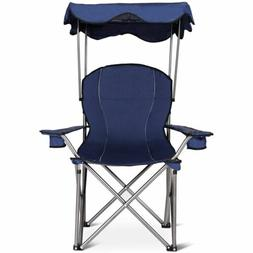 Durable Portable Folding Beach Canopy Chair with Cup Holders