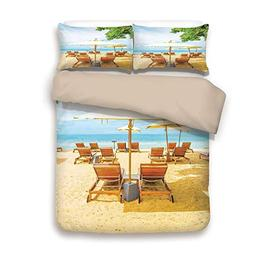 iPrint Duvet Cover Set,Back of Khaki,Seaside,Umbrella and Ch