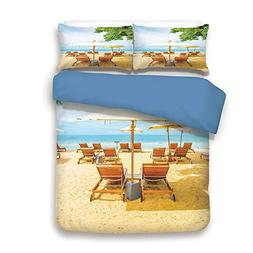 iPrint Duvet Cover Set,Blue Back,Seaside,Umbrella and Chairs