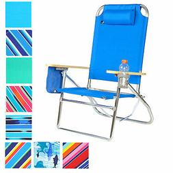 Extra Large - High Seat 3 pos Heavy Duty Beach Chair w/ Drin