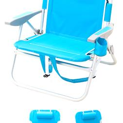 Rio Extra Wide Backpack Beach Chair, Light Blue