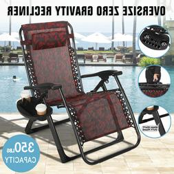 Extra Wide Zero Gravity Chair Patio Lounge Folding Beach Rec
