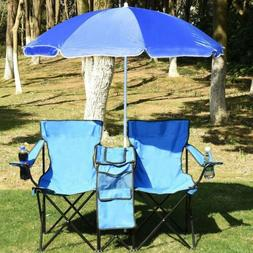 Foldable Patio Picnic Double Chair with Umbrella Table Coole