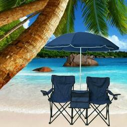 Foldable Picnic Beach Camping Double Chair+Umbrella Table Co