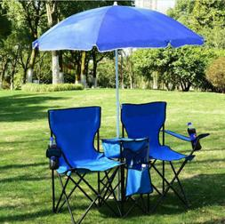 Foldable Picnic Beach Double Chair W/ Umbrella Table Cooler