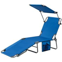 Foldable Sun Shading Chaise Lounge Chair Adjustable Beach Re