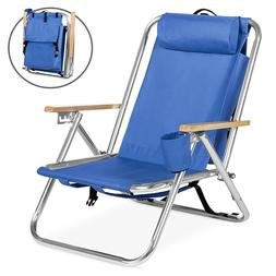 Folding Backpack Seat Chair With Padded Headrest Cup Holder
