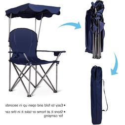 FOLDING BEACH CHAIR WITH CANOPY FOR ADULTS OUTDOOR CAMPING C