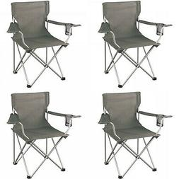 Folding Camping Chair Set of 4 Portable Outdoor Chairs Cup H