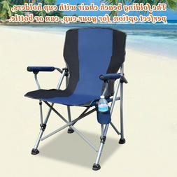 Folding Camping Chair With Cup Holder Picnic Beach Oversized