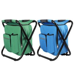 Folding Camping Fishing Chair Stool Backpack W Cooler Insula