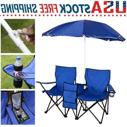 Folding Chair with Umbrella for Outdoor Picnic Garden Lawn B