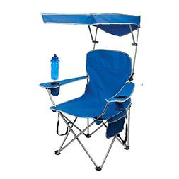 Full Size Shade Folding Chair - Royal Blue with Water Bottle