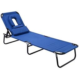 Goplus Folding Chaise Lounge Chair Bed Outdoor Patio Beach C