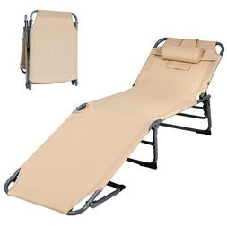Folding Chaise Lounge Chair Bed Adjustable Outdoor Beach Pat