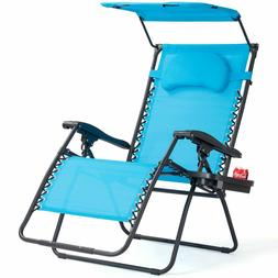 Folding Lounge Chair Zero Gravity Wide Recliner For Outdoor