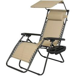 Folding Lounge Lawn Chair with Canopy Zero Gravity Outdoor R