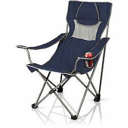 Picnic Time Campsite Folding Portable Chair, Navy/Grey