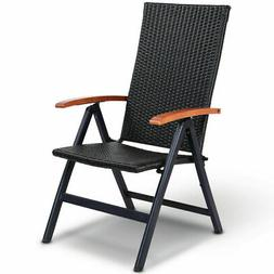 Folding Rattan Chair Adjustable Patio Recliner Portable for